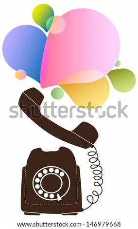 Retro telephone with color drops - stock photo