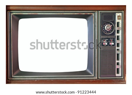 Retro television set isolated on white.