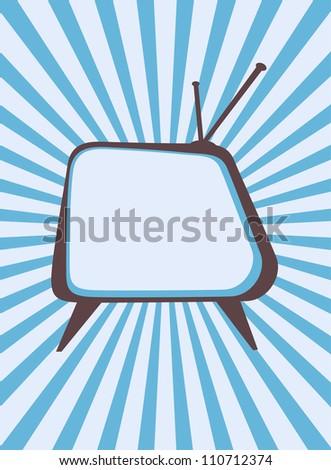 Retro television set with sunburst background - stock photo