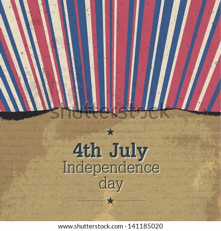 Retro 4th july poster with rays. Raster version, vector file available in my portfolio. - stock photo