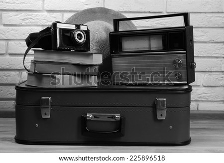 Retro things in shades of grey, close up  - stock photo