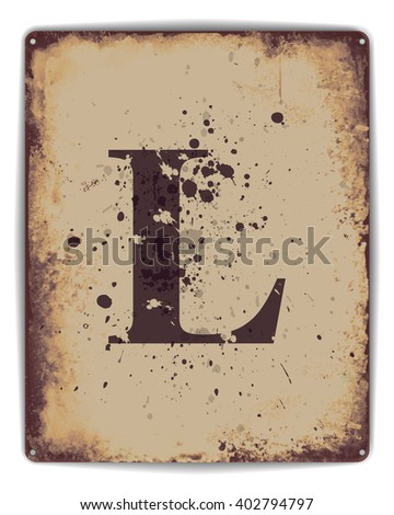 Retro tin plate style poster with capital letter L monogram.