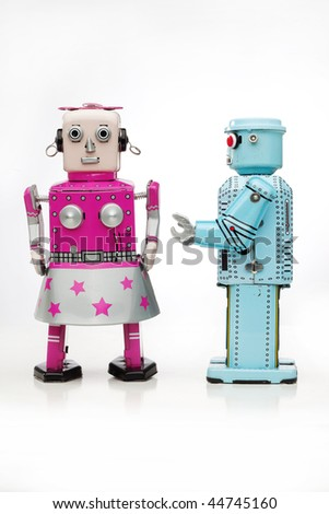 retro tin robot couple