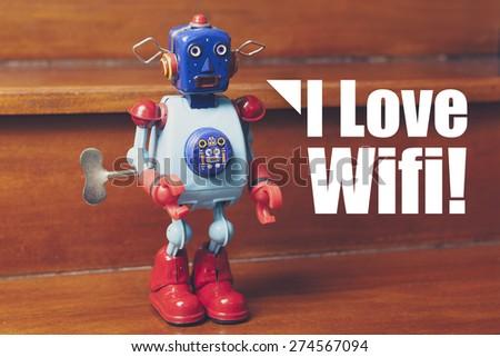"""Retro tin robot, with text """"I Love Wifi"""". - stock photo"""