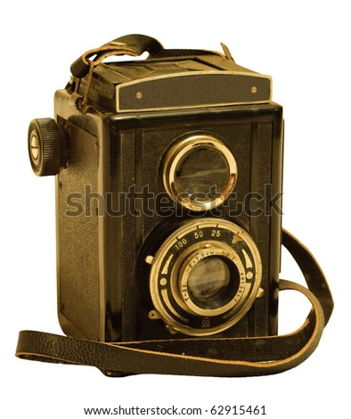 retro TLR (Twin-lens reflex) photo camera isolated on white - stock photo