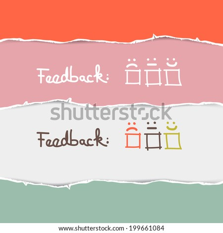 Retro Torn Paper Feedback Background Template - stock photo