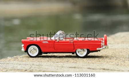 Retro toy car detail - stock photo