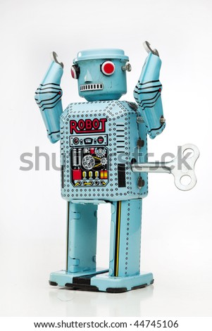 retro toy robot - stock photo