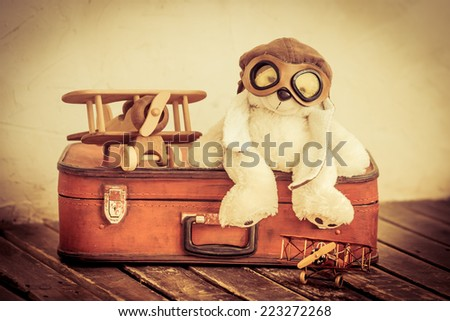 Retro toys. Travel and adventure concept - stock photo