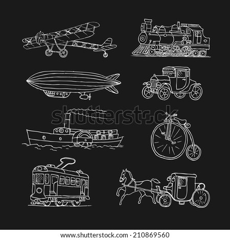 Retro transport. Old times. Airplane, locomotive, zeppelin, automobile, steamboat, bicycle, tram, diligence. Doodles. Sketch. - stock photo