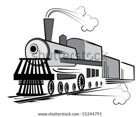 Retro transport on white.Old train . Rasterized vector - stock photo