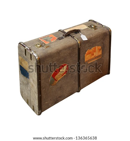 Retro travel bag suitcase isolated with clipping path included - stock photo