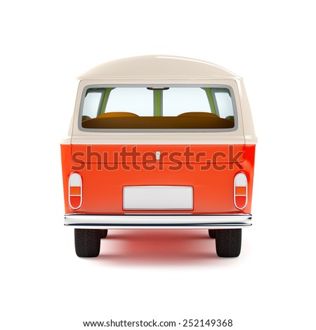 retro travel van in cartoon style, back view, isolated on white - stock photo