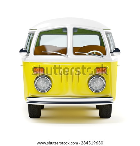retro travel van in cartoon style, front view, isolated on white