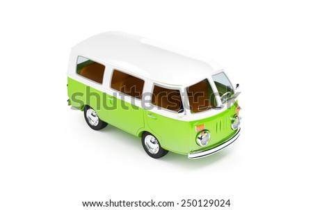 retro travel van in cartoon style isolated on white - stock photo