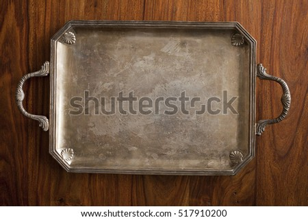 retro tray on wooden table