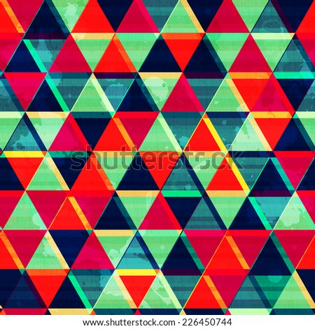retro triangle mosaic seamless pattern with grunge effect (raster version) - stock photo