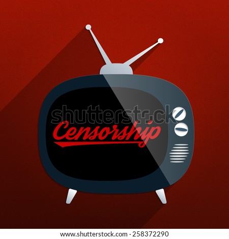 Retro TV and the phrase 'Censorship' on the screen. Concept for censor of inappropriate content, media blackout and repression of freedom of speech. - stock photo