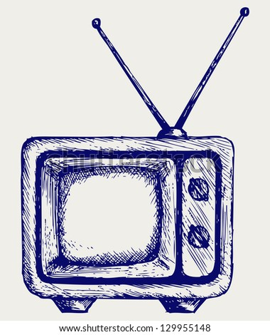 Retro TV. Doodle style. Raster version - stock photo