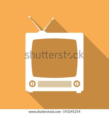 Retro TV flat icon - illustration - stock photo