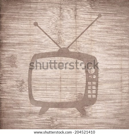 Retro tv. Flat modern web button and space for your text. .  - stock photo