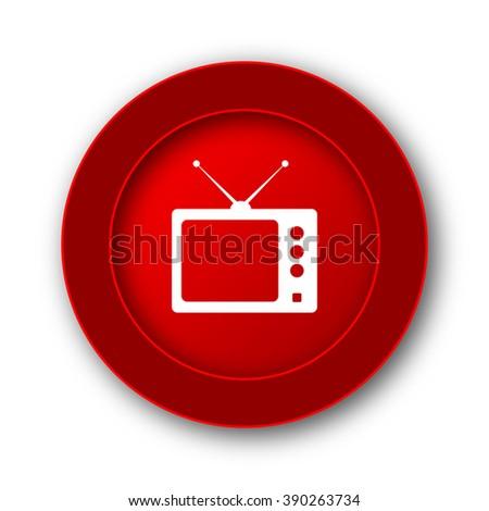 Retro tv icon. Internet button on white background.  - stock photo