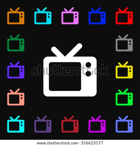 Retro TV icon sign. Lots of colorful symbols for your design. illustration