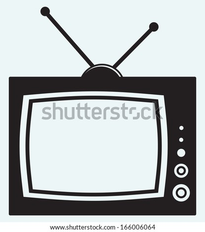 Retro TV isolated on blue background. Raster version