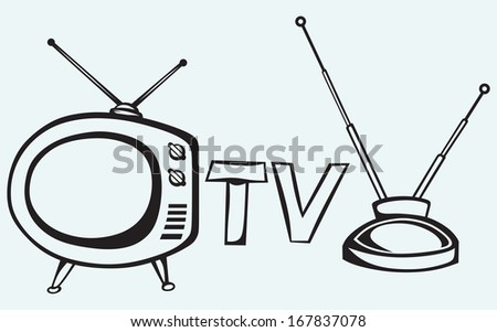 Retro TV isolated on blue background. Raster version - stock photo
