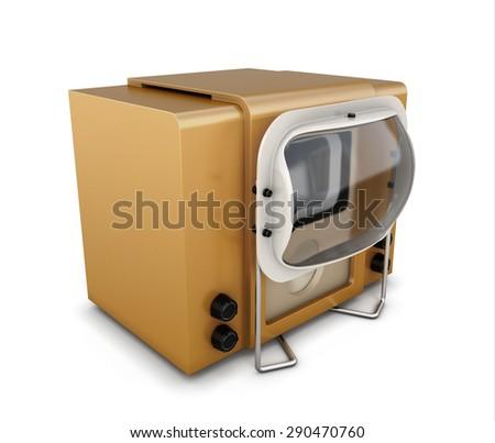 Retro tv isolated on white background. Vintage TV. 3d illustration. - stock photo