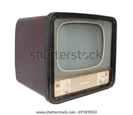 Retro TV on a white background - stock photo