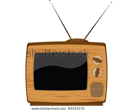 Retro TV set realistic vector illustration. Raster version - stock photo
