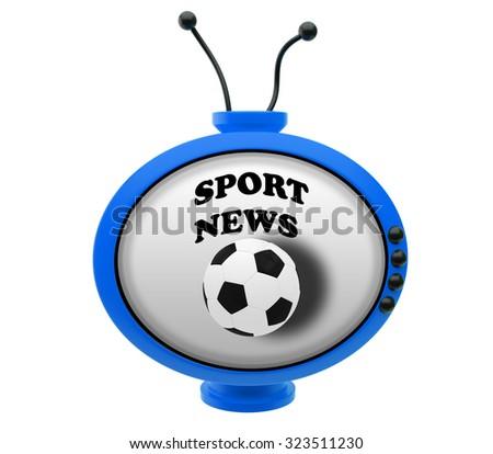 Retro TV with inscription sport news - stock photo