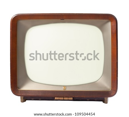 retro tv with wooden case isolated on white background - stock photo