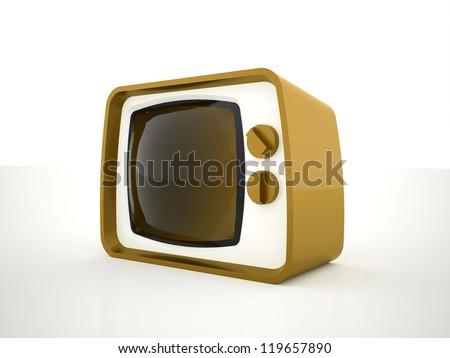 Retro tv yellow on white background - stock photo