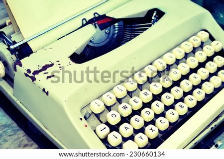 Retro typewriter background - stock photo
