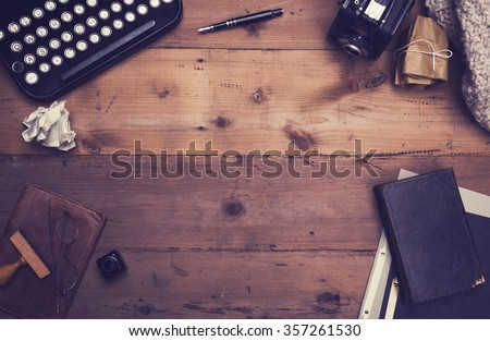 retro typewriter desk hero header - stock photo