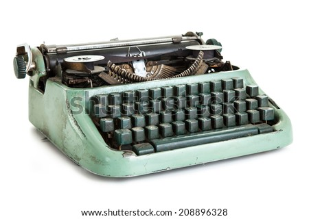 Retro typewriter isolated - stock photo
