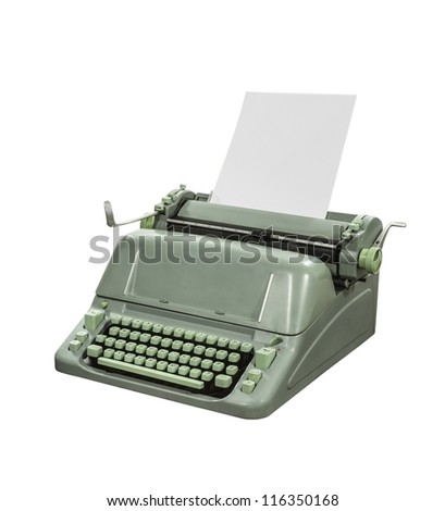 Retro typewriter isolated with clipping path.