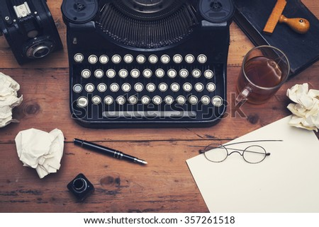 retro typewriter office desk - stock photo