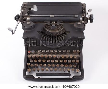Retro typewriter on a white background - stock photo