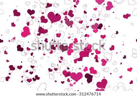 Retro valentine seamless pattern with hearts. seamless pattern of hearts on a white background. Raster version - stock photo