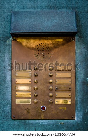 Retro Vintage Apartment Intercom Door Bell Buzzers - stock photo