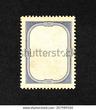 Retro vintage blue ornate border in the frame of an old postage stamp, with blank space for text. - stock photo