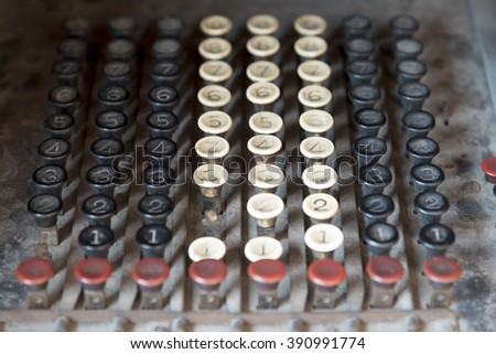 Retro vintage calculator keypad buttons - stock photo