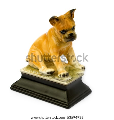 Retro vintage figurine of a boxer puppy isolated on white background - stock photo