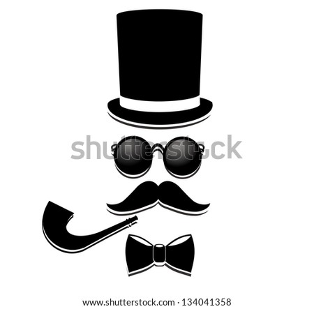 Retro, vintage gentleman accessories isolated on white background. - stock photo