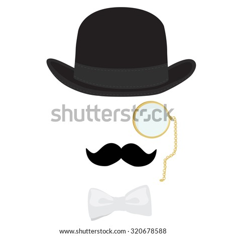 Retro, vintage gentleman icon. Snobby reach man in black bowler hat, golden monocle, white bow tie and with black mustache - stock photo