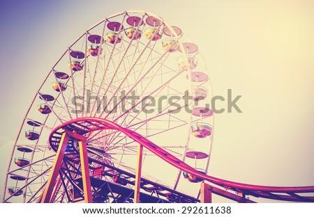 Retro vintage instagram stylized picture of an amusement park. - stock photo