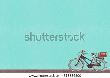 retro vintage old bicycle and wall background design - stock photo